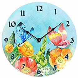 Contemporary floral design design 10 inch wall or kitchen clock. Watercolor flowers and butterflies design. Blue background with colorful flowers. Cheerful colors.
