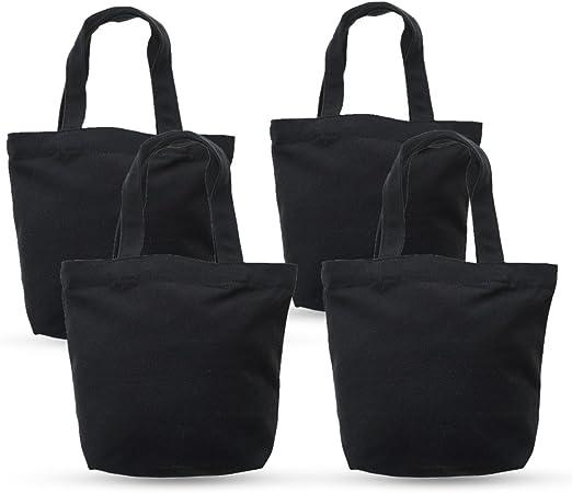 aspire Bolsas de Lona de Bricolaje Bolsa de Almuerzo de Lona 100% algodón 12 oz 4 Paquetes Black: Amazon.es: Hogar