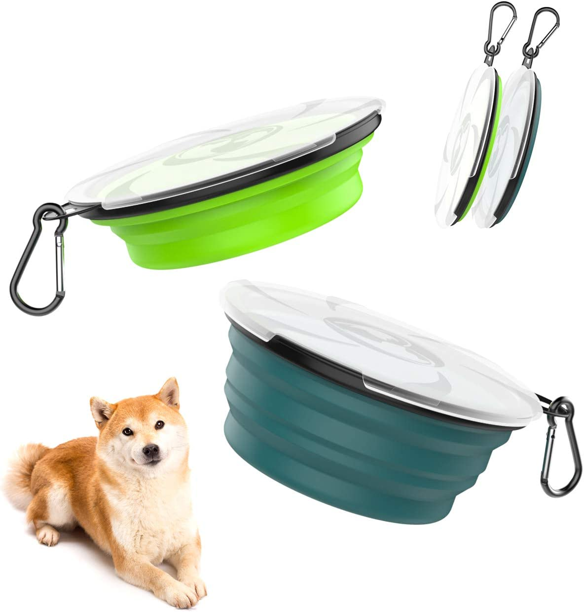 Foldable Expandable Silicone Feeding Bowl for Cat Medium Size Walking Camping Hiking Portable Pet Watering Dish for Traveling Pawaboo Collapsible Dog Travel Bowls