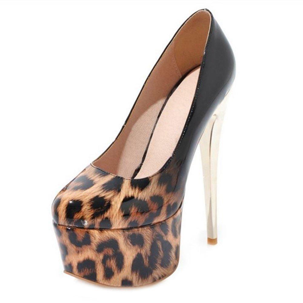 Smilice Damen Pumps Fashion Closed Toe Pumps Damen Plateau Schuhe mit Stiletto Absatz Braun 7f44a7