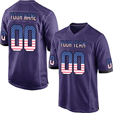 1e768b651dd Customized Women's Purple Mesh Personalized Football Jerseys Embroidered  Team Name and Your Numbers,American Flag