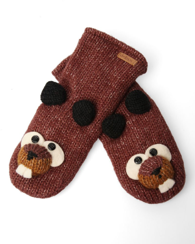 DeLux Beaver Brown Wool Mittens