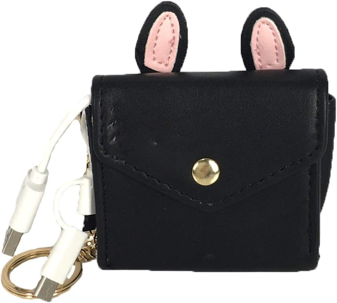 Bunny Ears Charging Portable Power Bank Key Chain, Black
