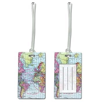 Amazon world map rectangular luggage tag office products world map rectangular luggage tag gumiabroncs Gallery