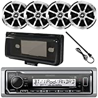 Kenwood KMR-M315BT MP3/USB/AUX Bluetooth Marine Boat Yacht Stereo Receiver Bundle Combo With Infinity 612m 6.5 2-Way Speakers + Scosche Waterproof Stereo Cover = Enrock 22 Radio Antenna