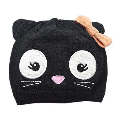 Orien Baby Kids Warm Knit Cotton Cartoon Snow Cap Earflap Hat Black 2-4year d6aa3e16030