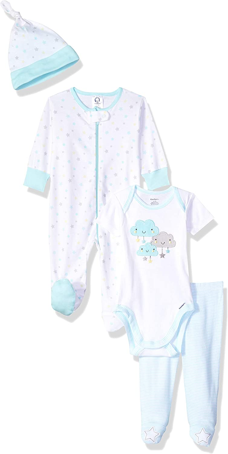 Gerber Baby 4-Piece Sleep 'N Play, Onesies, Pant and Cap, clouds, Newborn