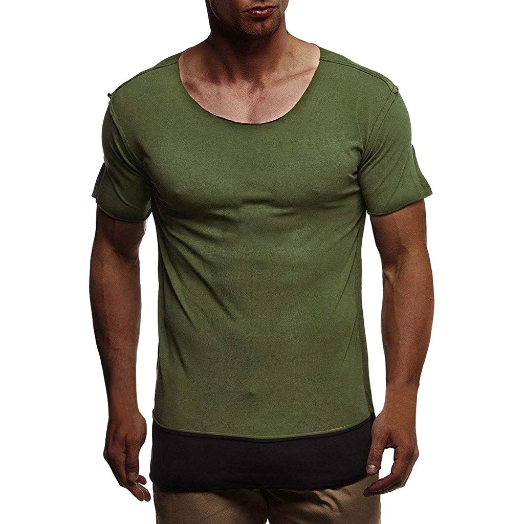 Giulot Men's Stay Tucked Buck Camp Flannel Shirt Heavyweight Beefy T-Shirt Classic Basic Solid Tank Green