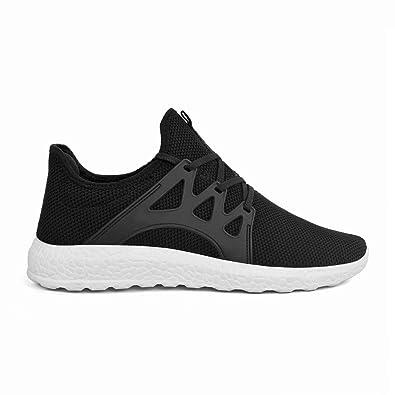 ZOCAVIA Damen Herren Laufschuhe Sportschuhe Leicht Sneakers Atmungsaktive Turnschuhe Schnürer Schwarz-Weiß 40 EU z0gkV