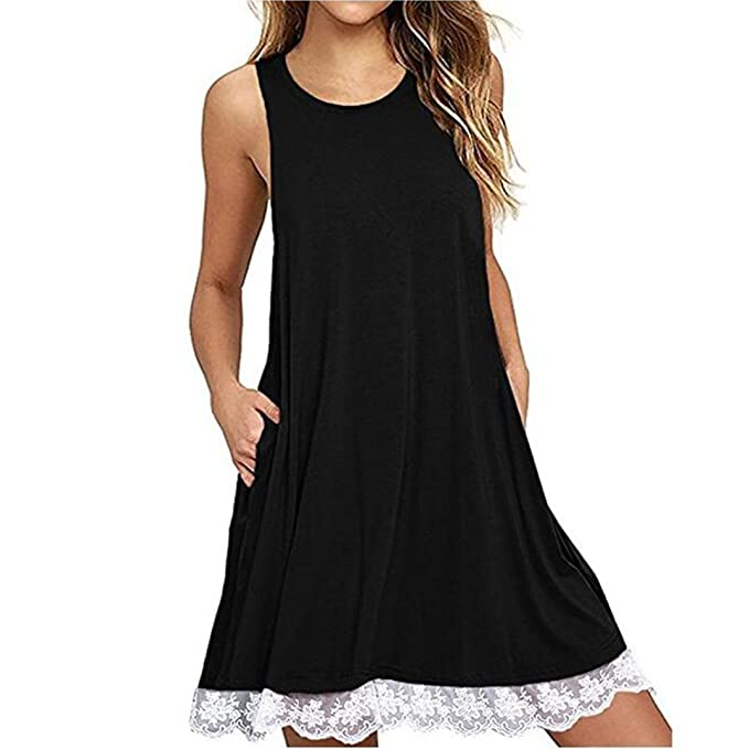 Amacok Women O Neck Casual Lace Sleeveless Above Knee Tank Dress Loose Party Dress Pockets Swing T-Shirt Dresses at Amazon Womens Clothing store: