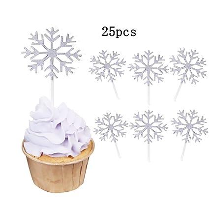Amazon.com: KALAIEN 25 Pcs Snowflake Cupcake Toppers Cake Topper ...