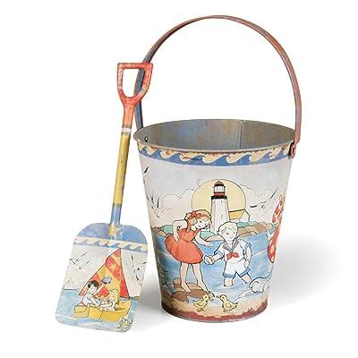 Vintage Sand Pail and Shovel Set - Vintage Beach Toys Lighthouse & Children Artwork - Retro Childrens Toys & Decor: Kitchen & Dining [5Bkhe0304315]
