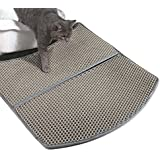 WooPet! Litter Mat for Cat Grey 24 x 22, Litter Free Fit Under Litter Box, Cat Litter Trap and Water Proof Keep Floor Tidy