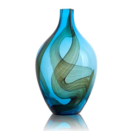 Amazon Ballerina Hand Blown Blue Flower Vases Black Ribbon Art