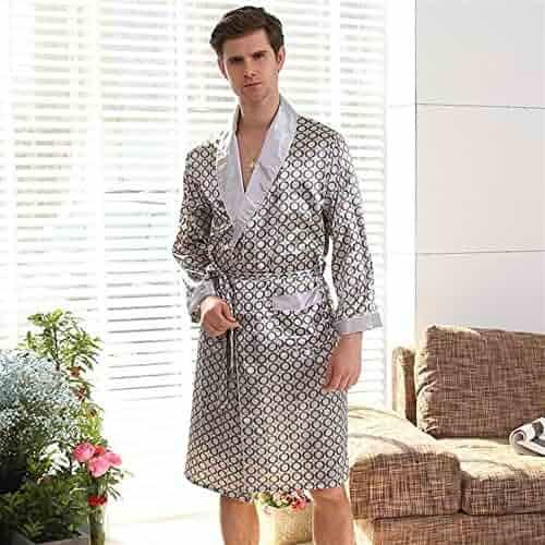 Huasen Towelling Bath Robe Men s Bathrobe Circle Pattern Long Sleeves  Bathrobe Nightgown Pajamas Wrap Nightwear ( 04c901a81