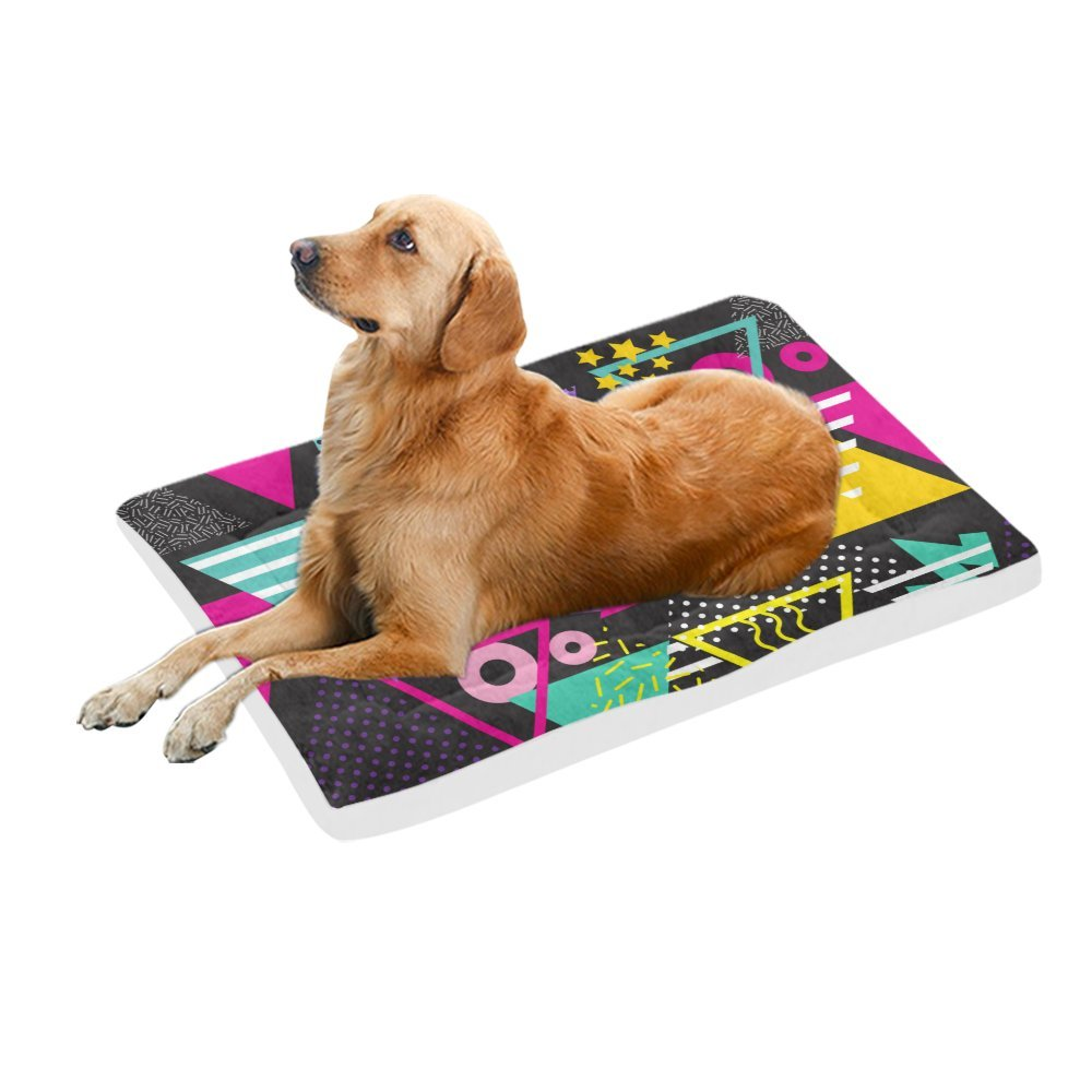 42\ your-fantasia Retro 80s Style Pop Art Triangles Pet Bed Dog Bed Pet Pad 42 x 26 inches
