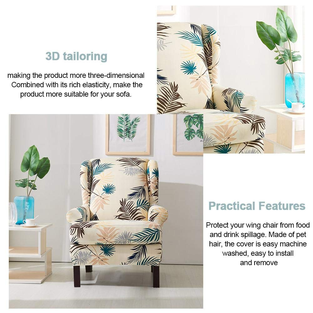 1 Saddle Cover 2 Pcs Wing Chair SlipCover Stretch Sofa Armchair Cover Sofa Furniture Protector Fabric Sofa Covers With Printing Pattern Arms Elastic Bottom 1 Base Cover
