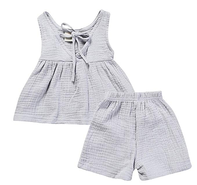 57ae048eb LOOLY Baby Girls Cotton Linen Blend Tank Top Dress and Shorts Outfits Set  Grey
