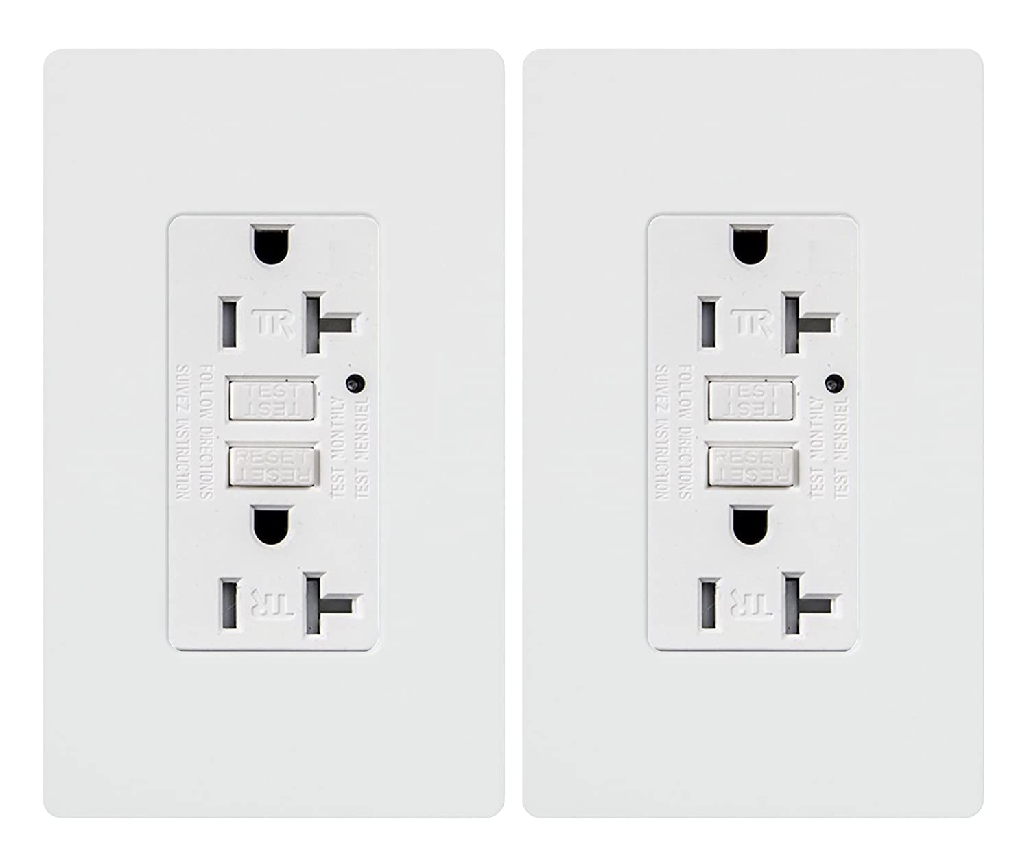 Gfci Outlet 20 Amp Tamper Resistant Receptacle With Led Indicator 15 Circuit Guard White Hd 125 Volt Wallplate And Screws Included Etl Listed Micmi M70 20a 2pack