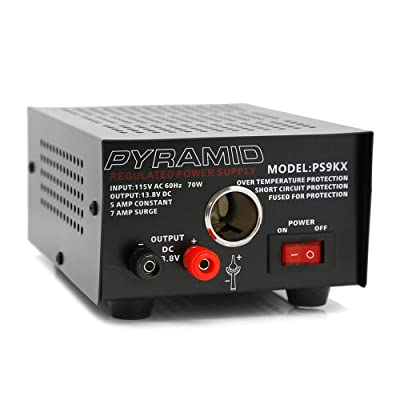 Pyramid PS9KX Universal Compact Bench Power Supply-5 Amp Linear Regulated Home Lab Benchtop Converter w/ 13.8 Volt DC 115V AC 70 Watt Input, Screw Type Terminal, 12V Car Cigarette Lighter: Car Electronics