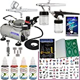 Master Airbrush Water Based Tattoo System. 3 Airbrushes, Air Compressor, Deluxe Book of 100 Stencils, 6' Hose, Airbrush Holder, 3 Quick Couplers, Black, Red & Blue Water Based Temporary Tattoo Ink in 1-oz Bottles. Now Includes a (FREE) How to Airbrush Tra
