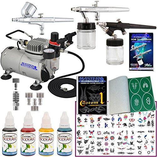 Master Airbrush Water Based Tattoo System. 3 Airbrushes, Air Compressor, Deluxe Book of 100 Stencils, 6' Hose, Airbrush Holder, 3 Quick Couplers, Black, Red & Blue Water Based Temporary Tattoo Ink in 1-oz Bottles. Now Includes a (FREE) How to Airbrush Training Book to Get You Started.