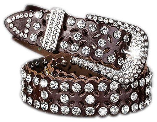 Corlink Rhinestone Jeweled Studded Western Cowgirl Cow skin Belt