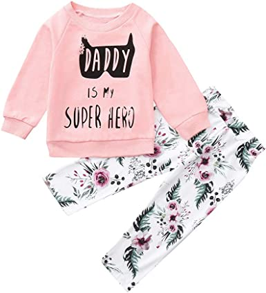 Staron  Newborn Hoodie Infant Baby Boy Girl Floral Tops Pants Outfits Clothes Set
