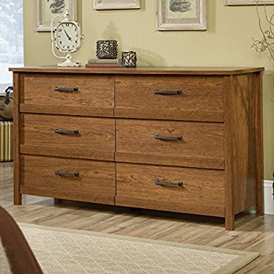 Sauder Cannery Bridge 6 Drawer Dresser - Dimensions: 56.25W x 17.5D x 31.88H in. Wood and engineered wood construction Choose from available finishes - dressers-bedroom-furniture, bedroom-furniture, bedroom - 61k4TPIvhOL. SS400  -