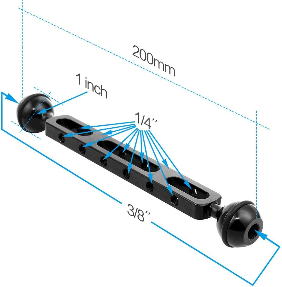 Black Yalehabi Aluminum Alloy Dual Balls 7.87 inch 20cm Arm for Underwater Torch Video Light Photography Stand