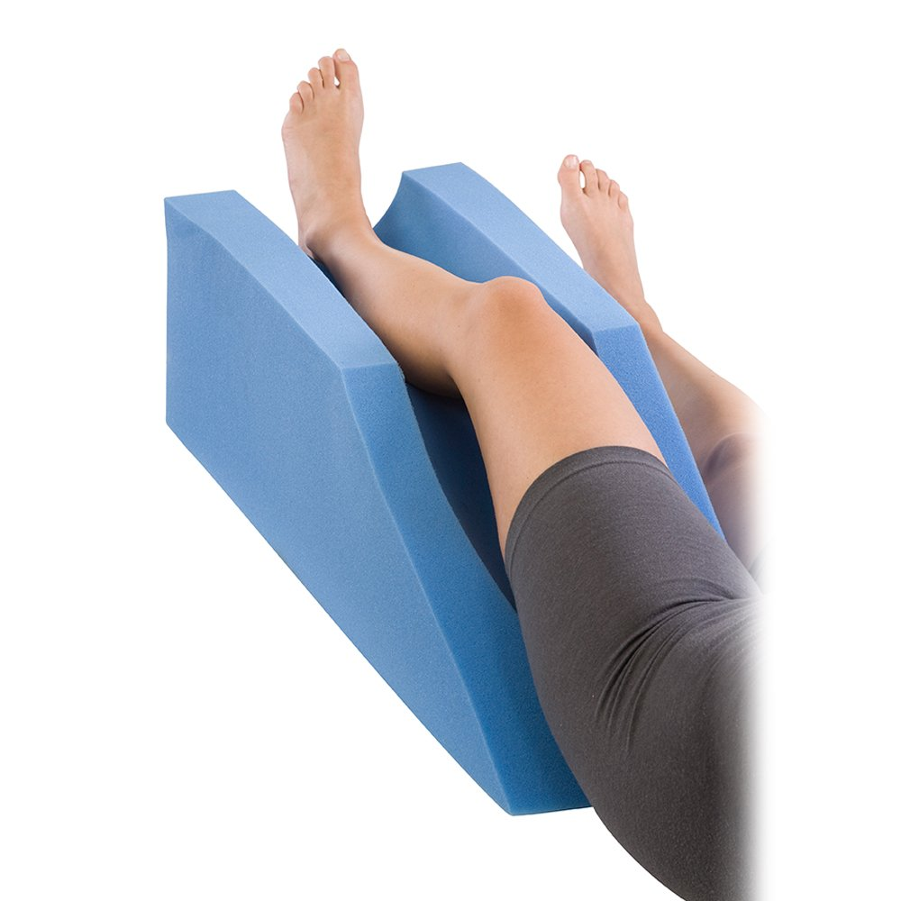 Procare Foam Leg Elevator Cushion - Support and Elevation Pillow for Surgery, Injury, or Rest - 10in Height x 31.5in Length - 79-90191 - Blue