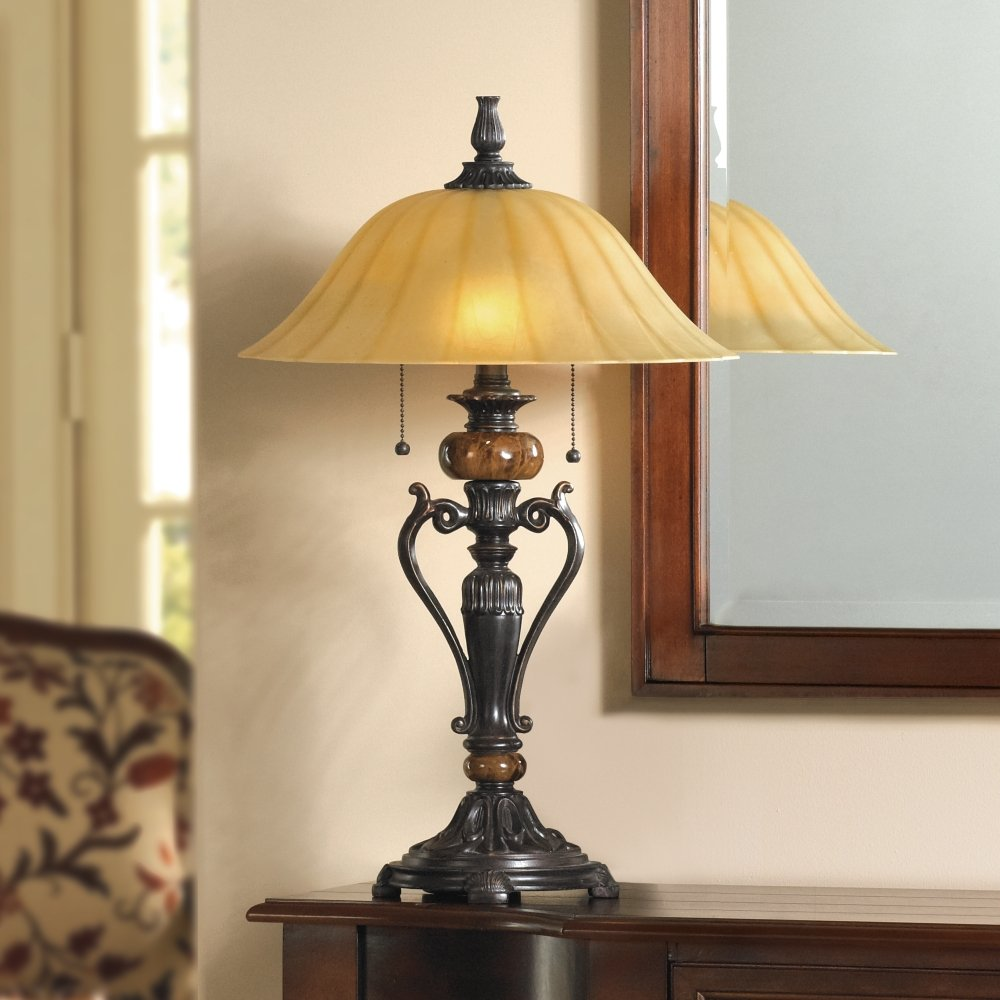 - Amor Collection Glass Shade Accent Table Lamp In Bronze - - Amazon.com