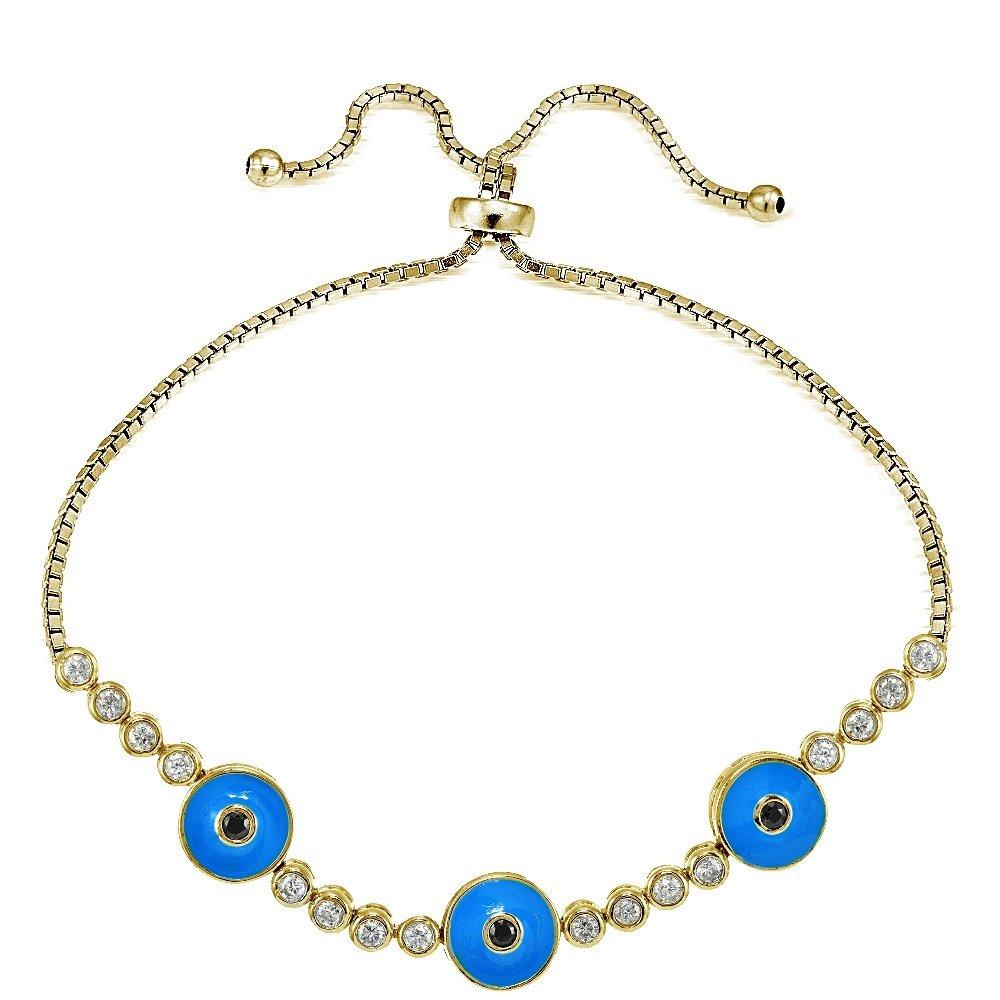 Hoops /& Loops Sterling Silver Cubic Zirconia /& Triple Round Blue Enamel Evil Eye Adjustable Pullstring Bracelet