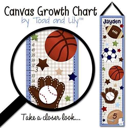 All Star Growth Chart - Canvas GROWTH CHART All Star Sports Boys Bedroom Kids Baby Nursery Wall Art GC0081