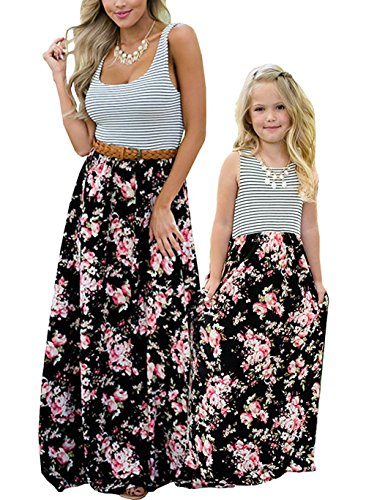 Qin.Orianna Mommy and Me Matching Maxi Dresses,Sleeveless Top Bohemia Floral Printed Matching Outfits with Pockets (Child 4T, Black)