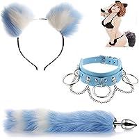 Bule-White Stainless Steel B-ütt P-l-ǔ-g Tail Fox Plùg Ear Set Séxy Collar Fox Bùtt Anime Stainless Cat Ears Headband…