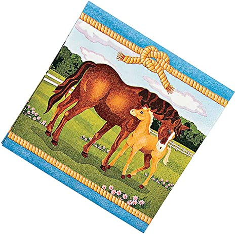 Amazon.com: 16 Large Mare and Foal Horse Party Paper Napkins ...