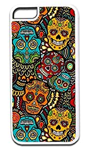 Sugar Skull Kaleidescope- Case for the APPLE IPHONE 6 PLUS ONLY!!! NOT COMPATIBLE WITH THE IPHONE 6!!!-Hard White Plastic Outer Case with Tough Black Rubber Lining