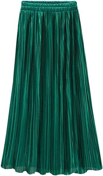ZhuiKun Falda Larga para Mujer Maxi Falda Plisada en Cintura ...