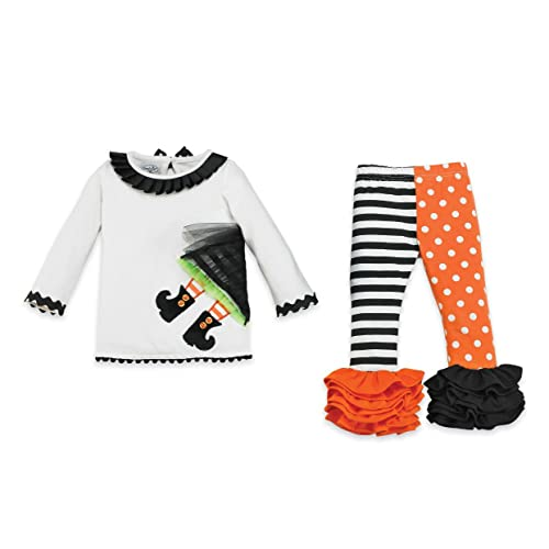 Witch Tunic Striped/Dot Orange Legging Set (with Bracelet for Mom)
