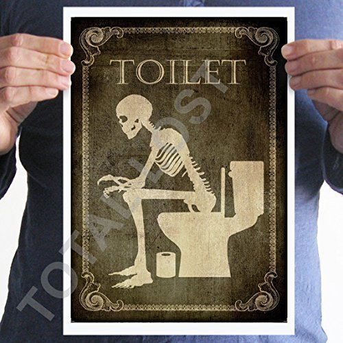 Toilet poster, Bathroom,Laundry,Bedroom,Kitchen,Office,Welcome,signs,horror,posters,skull,home decor,skeletons,wall decor,gothic,goth,wall decor ()