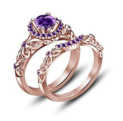 tvs jewels round purple amethyst bridal disney princess engagement wedding ring set in 14k rose - Amethyst Wedding Rings