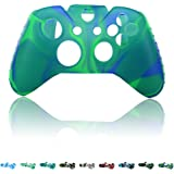 Skque Soft Silicone Camouflage Skin Case Cover for Microsoft Xbox One Controller, Blue & Green
