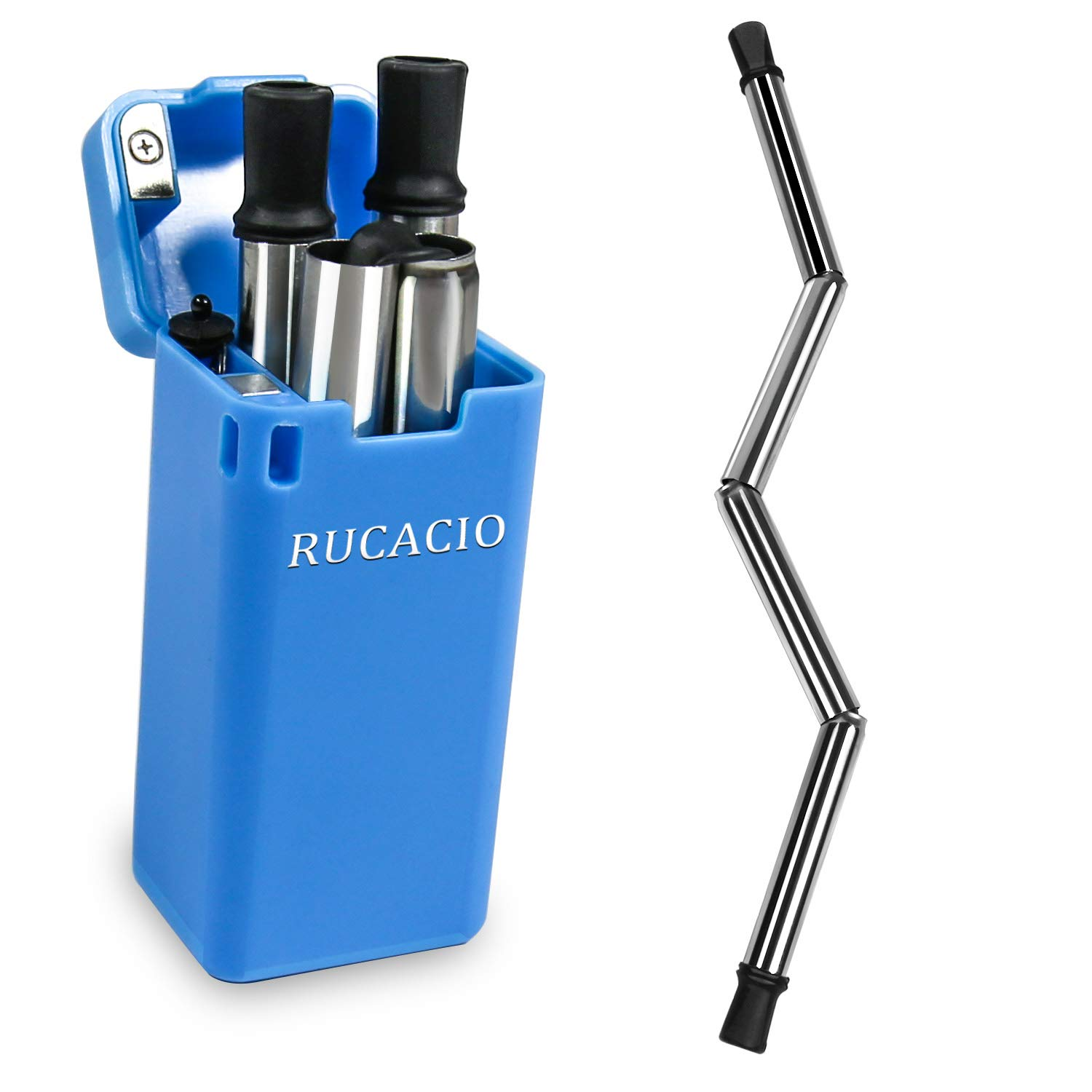 RUCACIO Collapsible Reusable Stainless Straw Medical-Grade Food-Grade Drinking Straws Portable with Hard Case Cleaning Brush