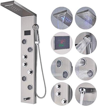 Stainless Stell Shower Panel Tower LED Rain Waterfall Massage Jets Sprayer Body