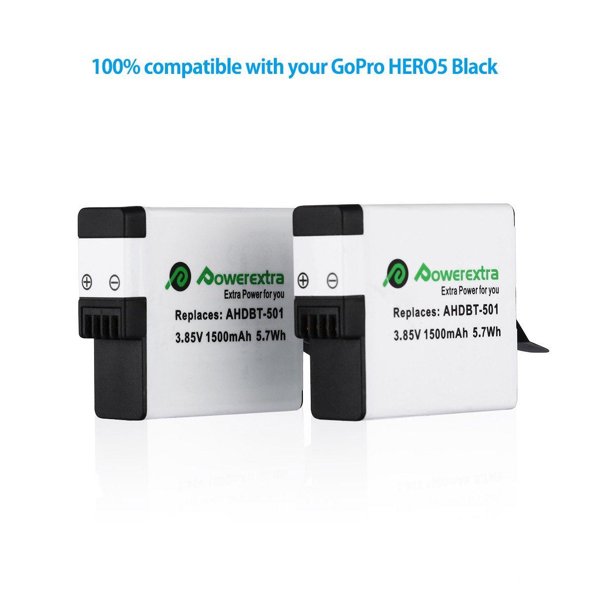 Powerextra 2 Paquete de Batería de Repuesto para GoPro HERO5 Negro HERO 6 Negro (Compatible con el firmware v01.50, v01.55, v01.57 y v02.00)