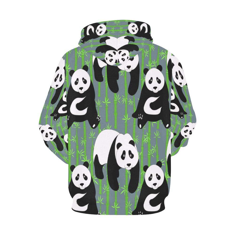 INTERESTPRINT Cute Panda Long-Sleeve All Over Print Mens Hoodie