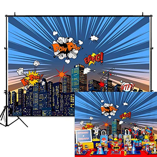 Mehofoto Superhero Baby Shower Backdrop Super Hero City Themed Photography Background 7x5ft Vinyl Child Kids Birthday Party Decoration Banner for $<!--$16.89-->
