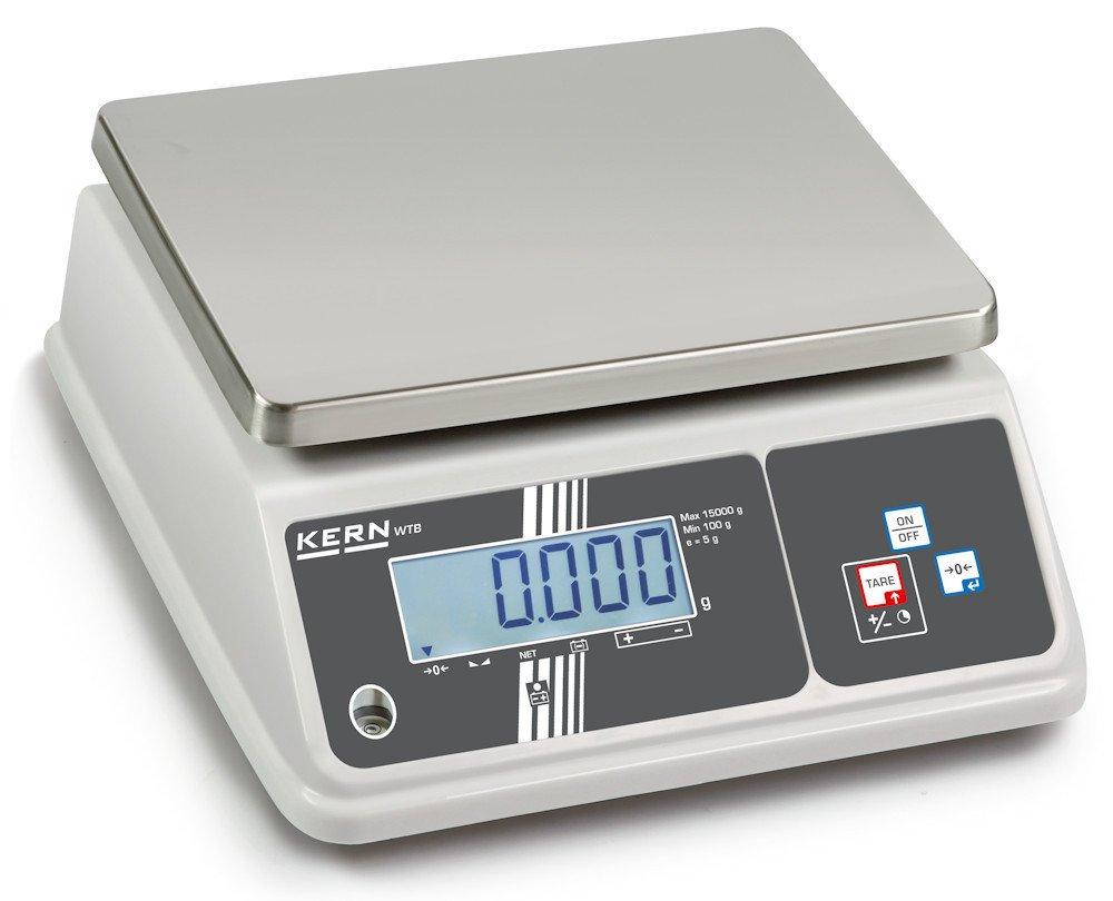 Balanza de mesa [Kern WTB 30K-2NM] Muy adecuada para el sector alimentario gracias a IP65 y a la pantalla especial de margen de tolerancia (checkweighing), ...