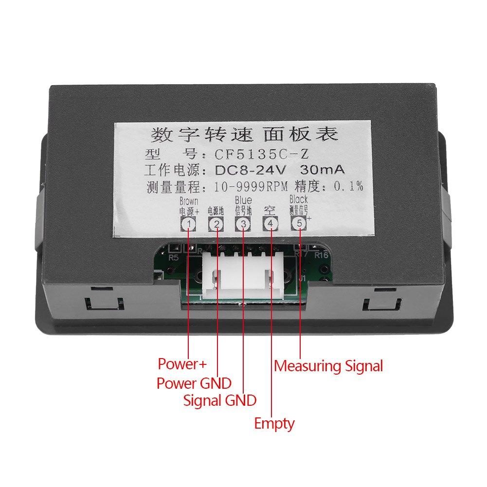 Azul Sensor de interruptor de proximidad de pasillo NPN 4 LED Rojo//Azul Digital Tac/ómetro RPM Medidor de velocidad